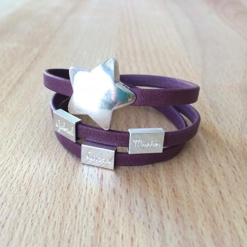 Pulsera estrella personalizada con tres nombres
