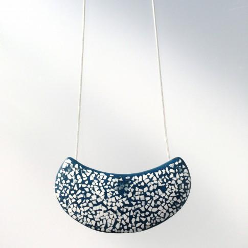 Colgante laca japonesa mini mosaico azul